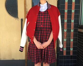 Homemade red plaid jumper dress (m)