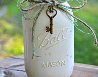 Rustic Ivory Mason Jar - Quart