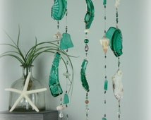 Palm Trees Swaying Green Beach Glass Wind Chime Mobile
