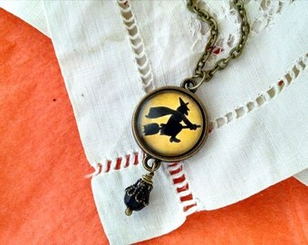 Flying Witch on Yellow - Halloween necklace
