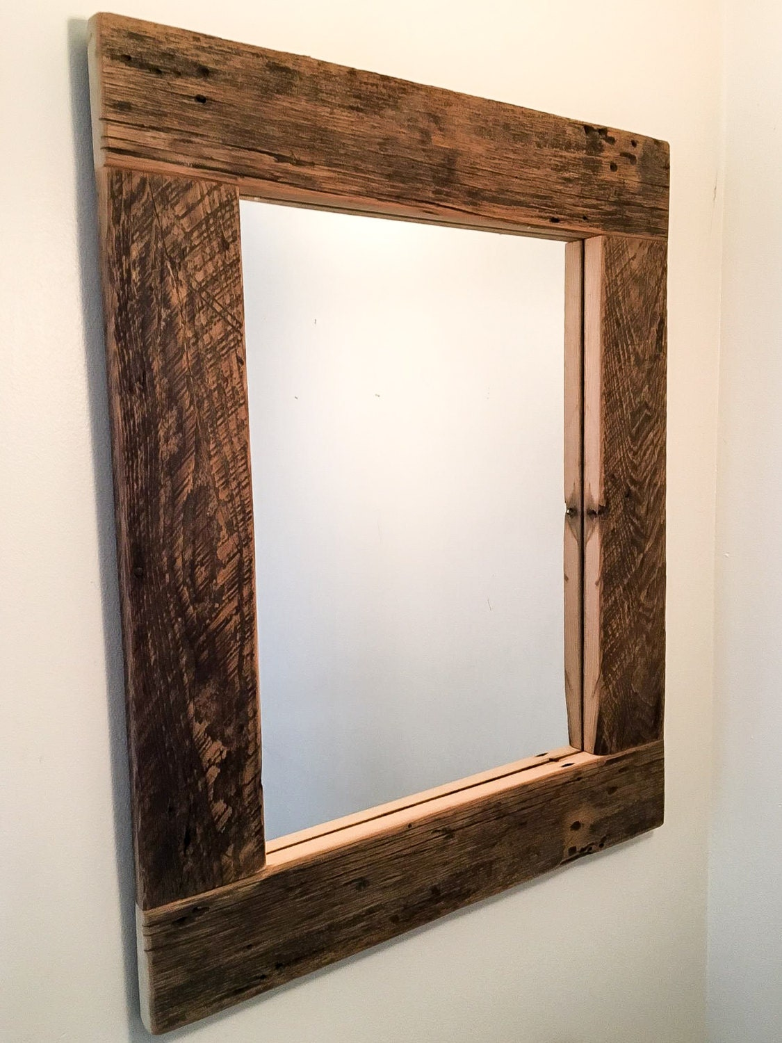 Reclaimed wood mirror rustic mirror by unitedreclaimedinc for Rustic mirror
