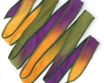 Hand Dyed Silk Ribbon, Meadow color 32inch necklace/bracelet (WRAP011)
