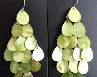 Green Mother of Pearl Chandelier Earrings