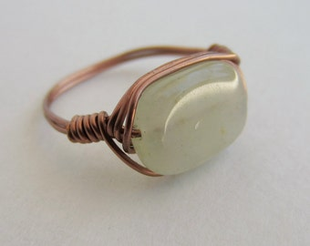 Size 5 Ring: Green Aventurine Copper Wire Wrapped Gemstone Bead Ring
