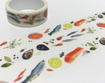 seafood washi tape 3M sea food fish masking tape dinner meal kitchen dinner sticker tape cooking planner food party label invitations decor