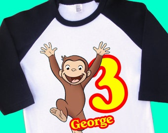Curious George Birthday Shirt. Personalized Raglan with Name & Age. 1st 2nd 3rd 4th 6th 7th 8th 9th Birthday Tee, T Shirt, Tshirt. (15096)