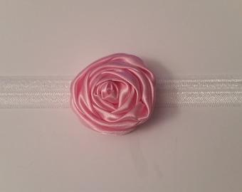 Pink silk flower headband