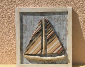 Driftwood framed sailboat wall art decor coastal 3d beach original wood modern shabby ocean hanging cottage office gift decoration nautical