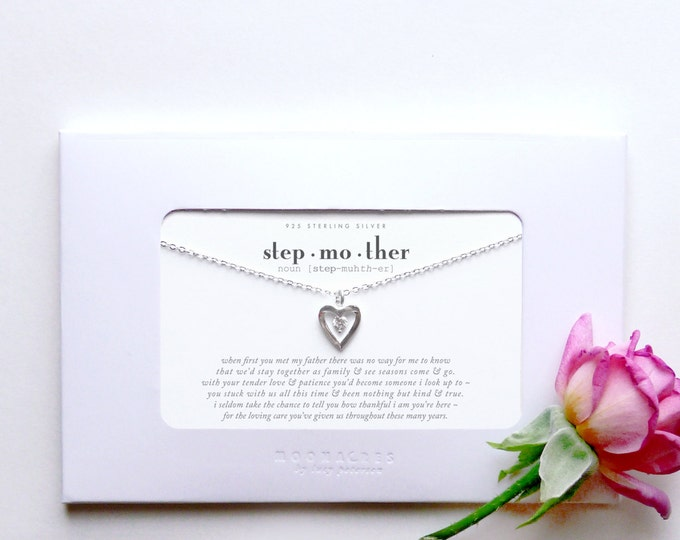 Stepmother | Sterling Silver Heart Necklace Poem Quote Message Card Gift from Stepdaughter Stepson to Stepmom Step Mother Wedding Birthday