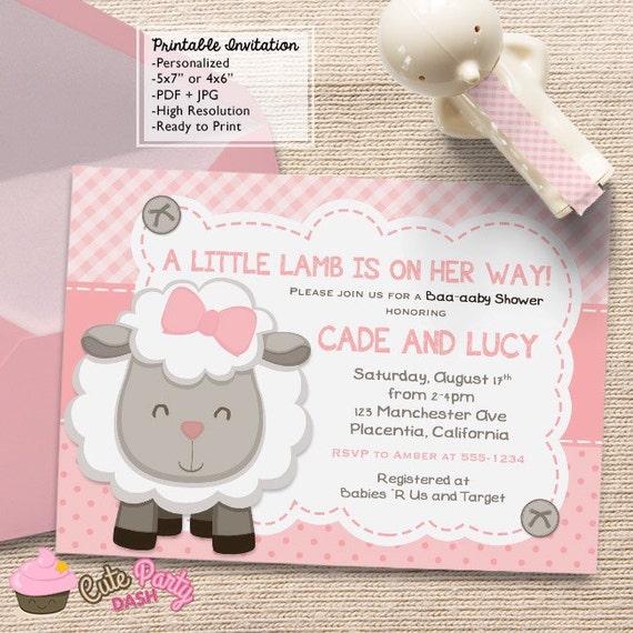 cute little lamb baby shower invitations little sheep pink diy, Baby shower invitations