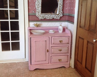 Furniture,Shabby Chic Bathroom Sink Vanity,Miniature 1/12 scale,distressed in blushing pink color