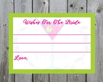 Wishes For The Bride  - Bachelorette Party - Martini Themed - Instant Download - Print At Home - DIY - J0001