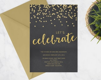 Printable Engagement Party Invitation | Engagement Party Invite | DIY Printable | Handwritten Calligraphy | Black and Gold | Sparkle Glitter