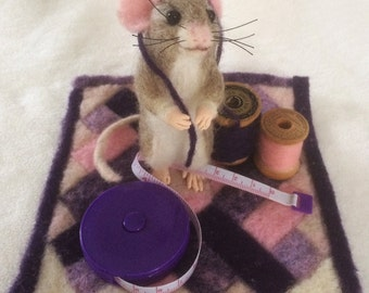 Quilter - Needle Felted Mouse Sculpture
