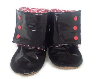 Shiny Black Stay-on Baby Boots* 12-18m* Toddler Boots* Stay-on Baby Boots* Stay-on Toddler Boots* Baby Boy* Baby Girl*