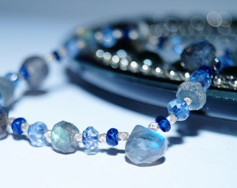 Labradorite Onion Briolette, Blue Quartz and Iolite Bracelet