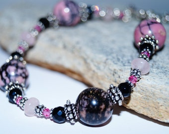 Rhodonite, Black Onyx, Rose Quartz and Sterling Silver Bracelet