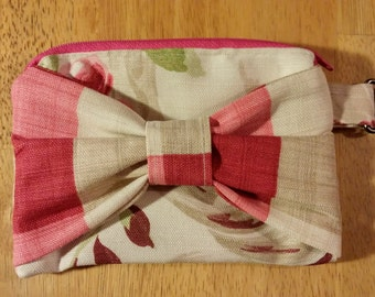 One of a kind Pink and Cream Clutch