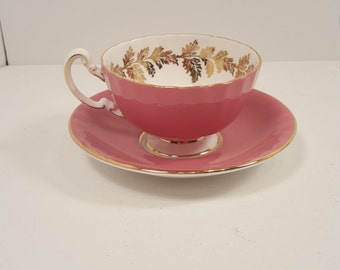 Pink Aynsley coffee cup, teacup; floral cup; pink and gold