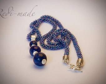Necklace - crocheted blue necklace with semi precious pendant