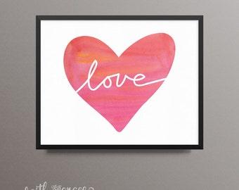 Love Heart Watercolor 8x10 Horizontal Printable Digital Download