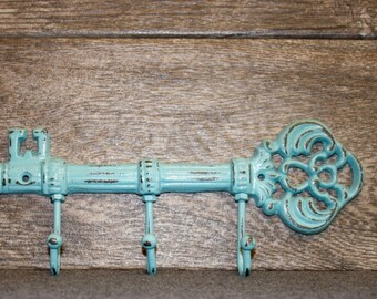 Key Holder / Skeleton Key Rack / Cast Iron Wall Hook / Key Hanger / Foyer Entrance Key Rack / Key Hanger Hooks / Housewarming Gift