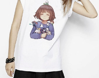 Undertale Frisk With All Character Sans Papyrus Undyne Pocket Version Game Inspired T-shirt. Male and Female Apparel