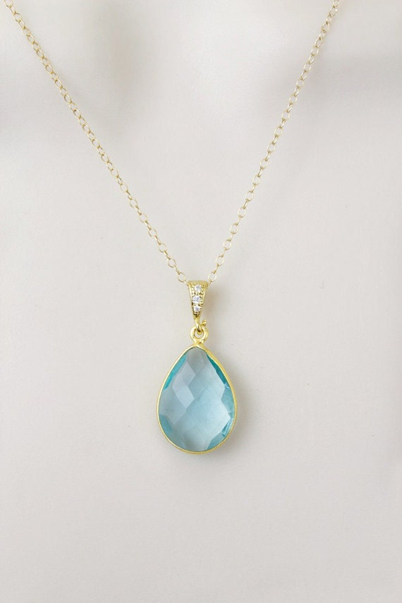 Aquamarine Necklace Birthstone Necklace Minimal Necklace