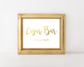 Gold Foil Printable Cigar Bar Sign, Wedding Cigar Bar Please Enjoy Sign, Reception Sign, Cigar Favors Sign, DIY Cigar Sign, Instant Download
