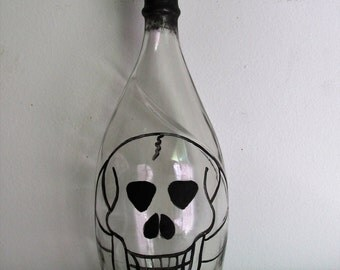 Hand-Painted, Large Decorative Bottle featuring Halloween Skull