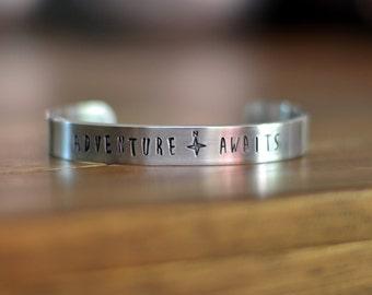 Adventure Awaits Silver Cuff Bracelet, Hand Stamped Jewelry, Inspirational Bracelet, Travel Jewelry, Quote Jewelry, Graduation Gift