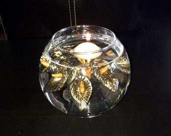 Fishbowl Gilded Lilies Floating Candle Table Centrepiece            Free Shipping