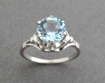 Valentines day gift, Silver ring with light blue topaz, Vintage style ring, topaz engagement ring, blue topaz Ring, December birthstone.