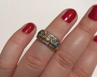 Vintage Multicolored Rhinestone 925 Sterling Silver Ring