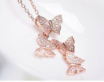 Rose  or White Gold Butterfly Necklace