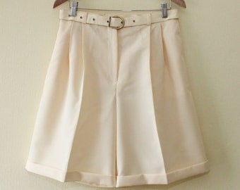 Classic Vintage Women's Beige Shorts High Waist Shorts Button Waist Zip Fly Pleated with Pockets and Belt on waist Knee Length Shorts