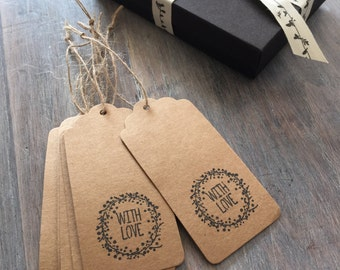 6 Kraft Gift Tags 'With Love' - Wedding, Party, Gift Wrap, Funeral Favour