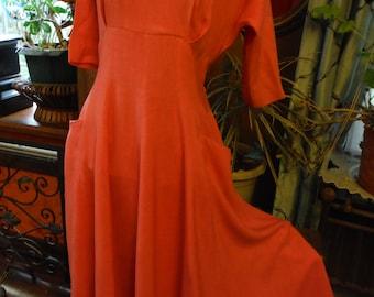 1950 Pink Linen Dress with Angora Collar