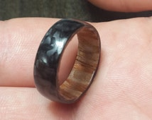 Carbon Fiber Ring, lacewood,finger ring carbon,mens wedding ring,twill ultralight ring,bridal ring,black band ring,ring mens,polished finish