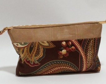 Brown Paisley Cosmetic Bag, Paisley Zippered Pouch, Makeup Bag, gift ideas for women