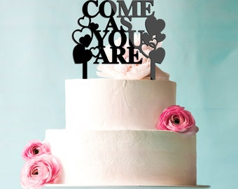 Come As You Are Baby Shower Cake Topper in Black Acrylic CT00051