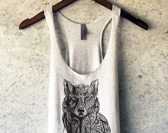 Wolf Tank Top - Wolf Shirt - Wolf Tshirt - Animal Shirt - Wolf Tee - Wolf T Shirt - Hipster Shirt - Wildlife Shirt - Wolf Clothing