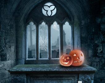 Mausoleum Halloween Backdrop (HWA-SE-002)