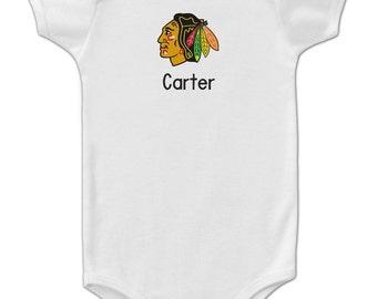 Personalized Chicago Blackhawks Baby Bodysuit