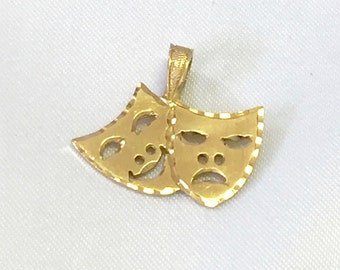 14k Gold Drama Charm, Drama Masks, Gold Theatre Charm, Actor/Actress Charm