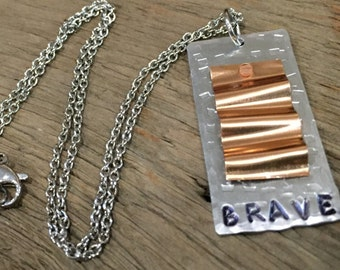 Customizable Hand-Stamped Riveted Waves Necklace