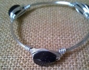 Blue Goldstone Bangle Bracelet