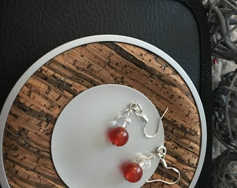Semi-precious stone and bead sterling silver earrings
