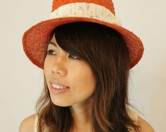 Handmade orange straw hat
