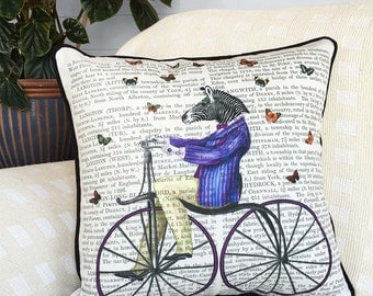 Zebra Pillow cover Zebra on Bicycle pillow cover bicycle cushion circus pillow circus decor zebra cushion kids room décor Baby Room Decor